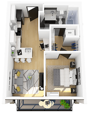 3 dimensional floorplan of a modern 1 bedroom apartment