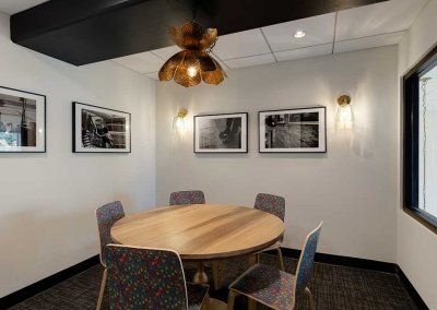 Photo of a round conference table in private room area