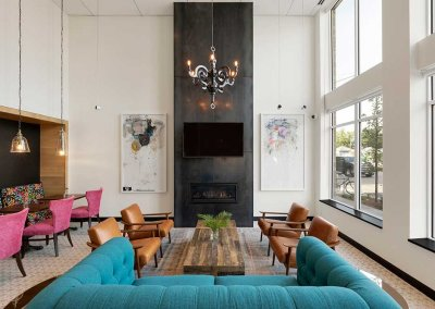 Photo of a comfortable lobby with modern decor