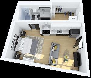 3 dimensional floor plan of a modern studio apartment