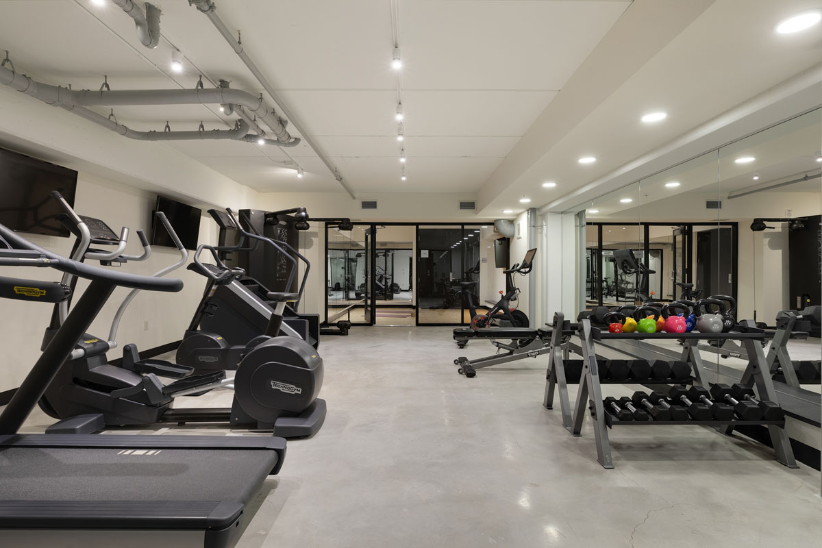 Fitness center with various workout machines and weights