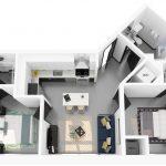 3D rendering of floor plan K