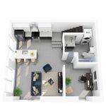 3D rendering of floor plan M (lower)