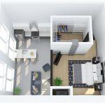3D rendering of floor plan M (upper)