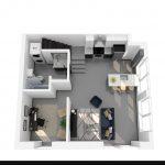3D rendering of floor plan O (lower)
