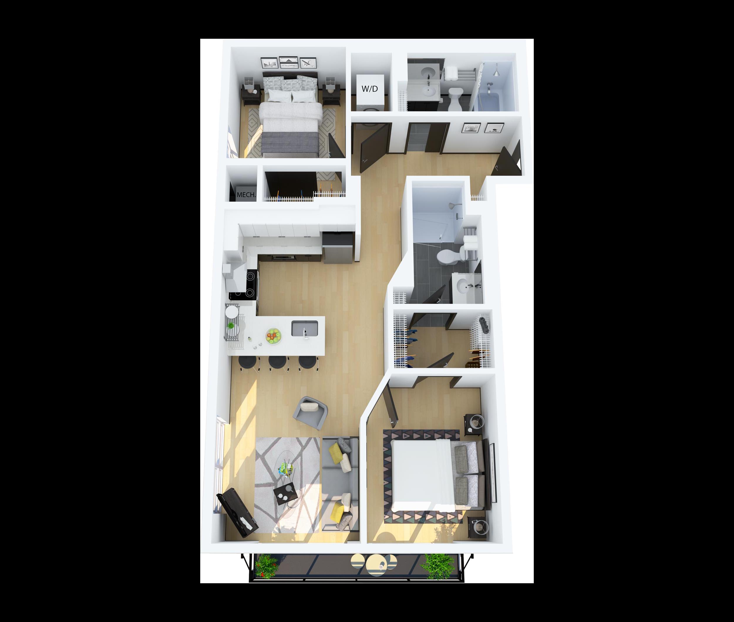 Floor Plan A – 2 Bedroom 2 Bathroom