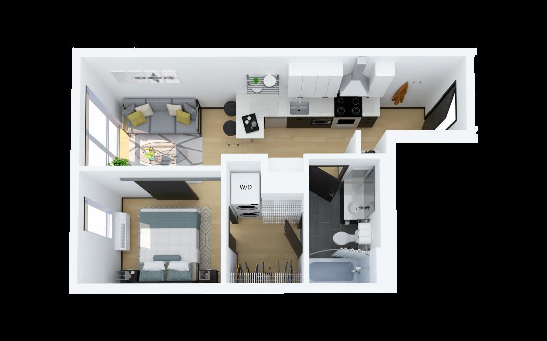 Floor Plan B – One Bedroom Apartment