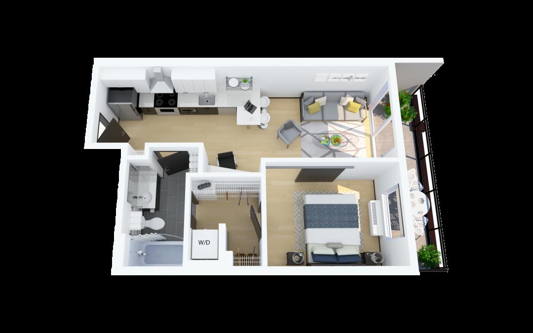 Floor Plan C – 1 Bedroom, North Facing Apartment