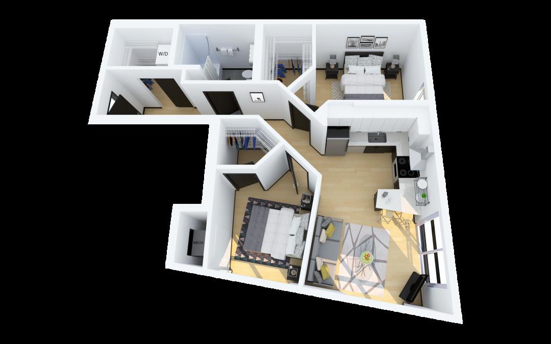 Floor Plan D – 2 Bedroom with Juliet Balcony