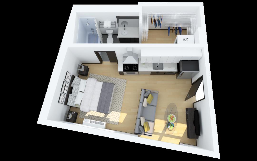 Floor Plan E – Studio Apartment