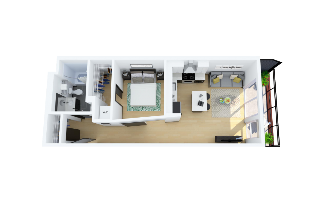 Floor Plan G – 1 Bedroom, South Facing Apartment