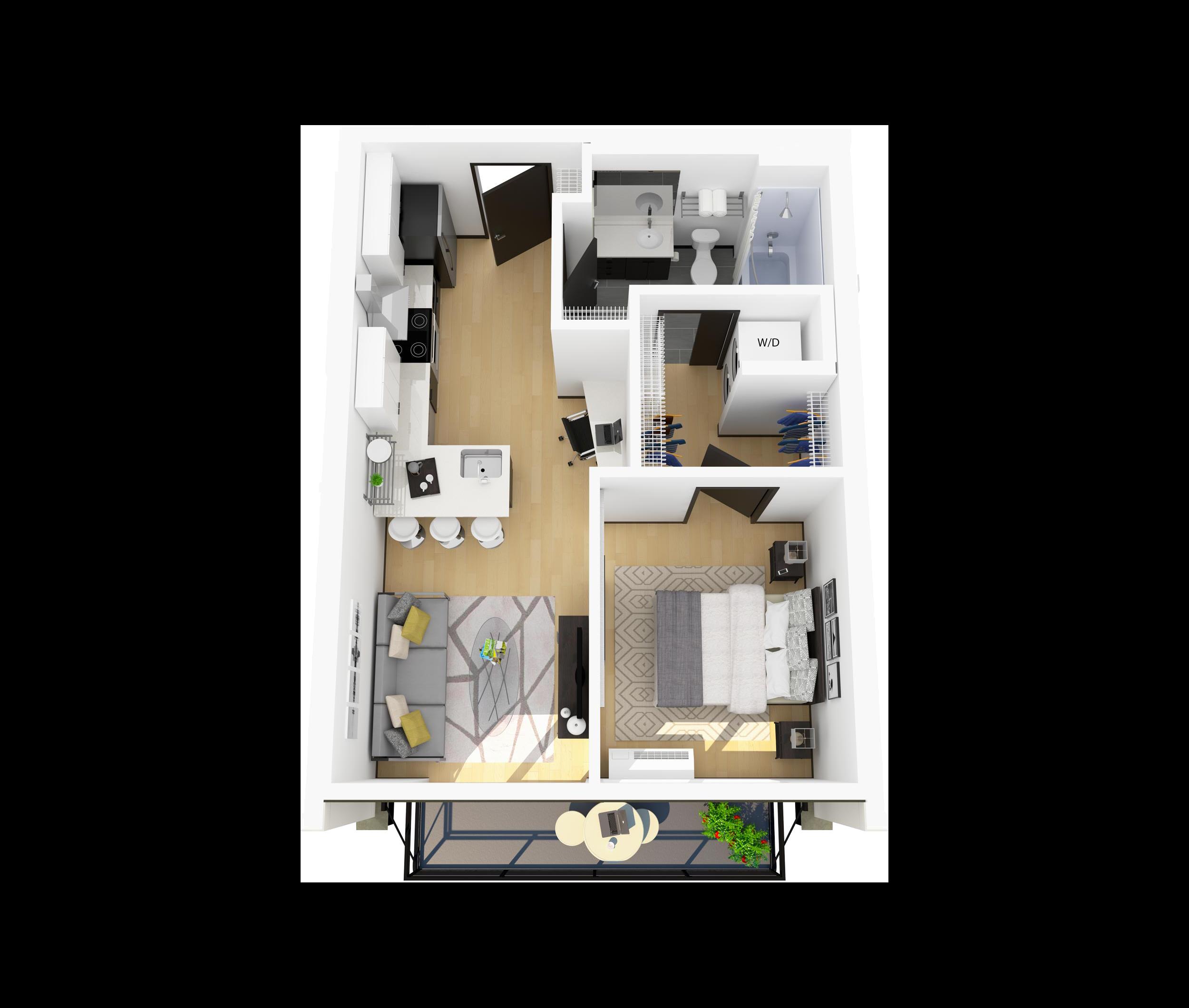 Floor Plan J – 1 Bedroom Apartment