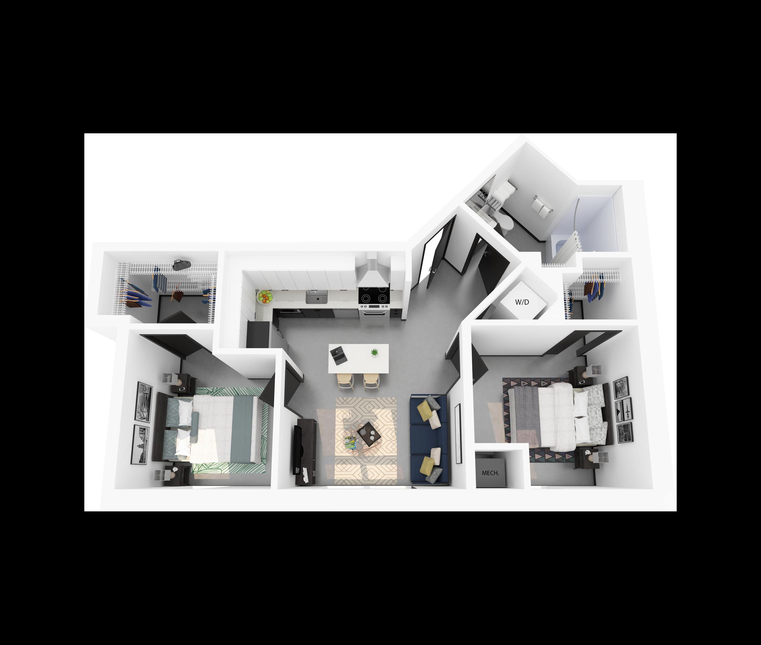 Floor Plan K – 2 Bedroom Apartment