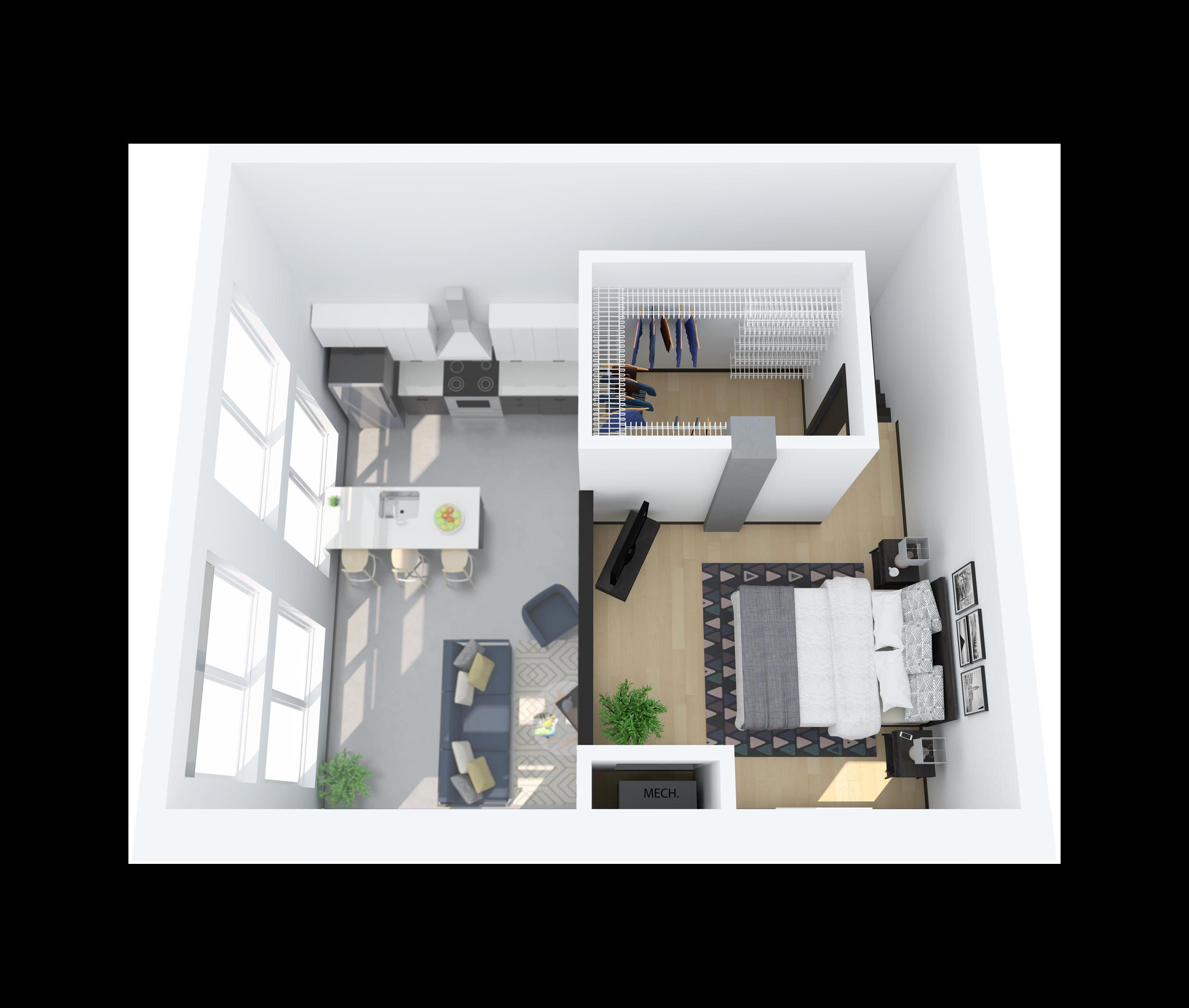 Floor Plan M – 1 Bedroom Loft Apartment