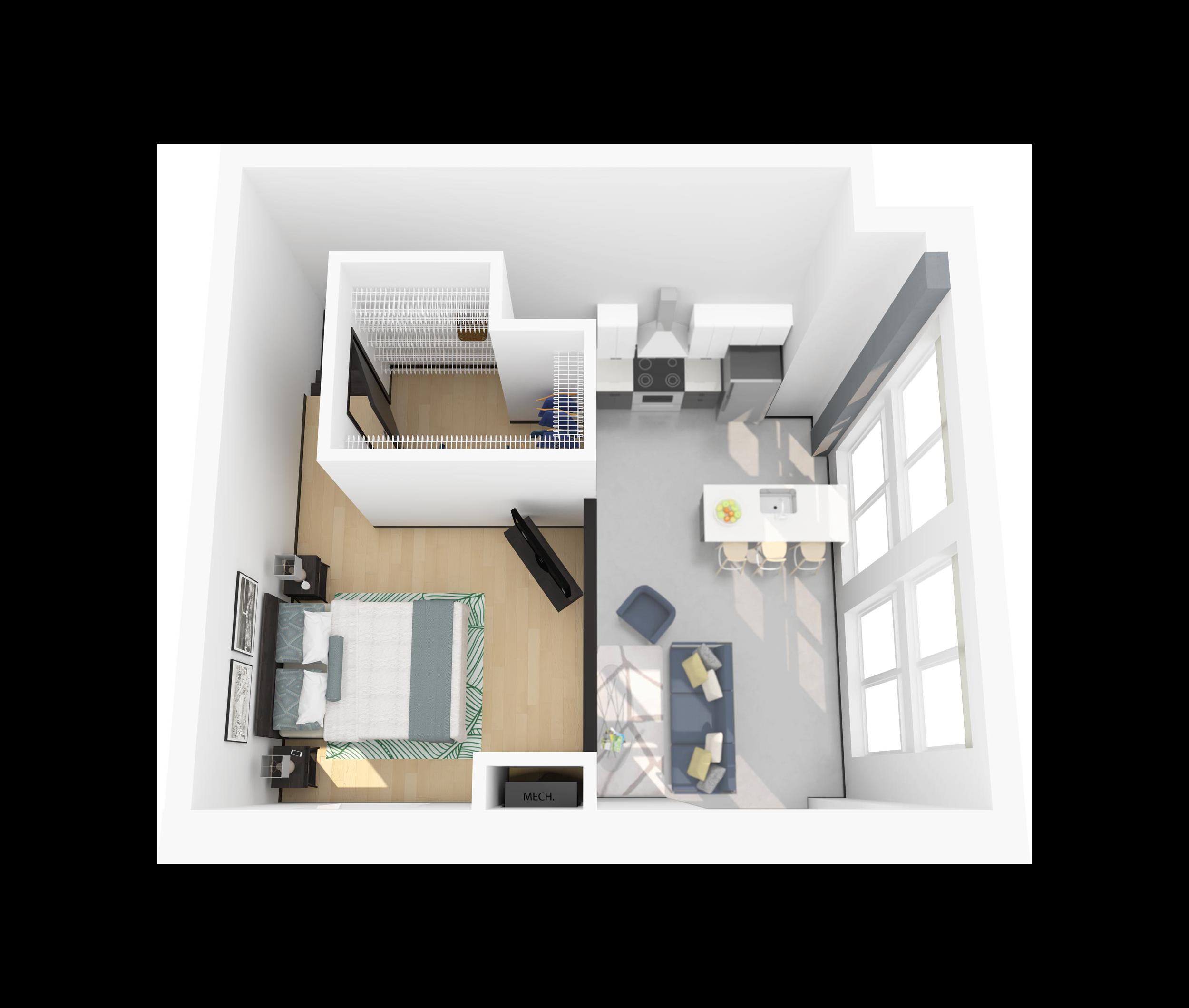 Floor Plan O – Apartment with Loft Bedroom