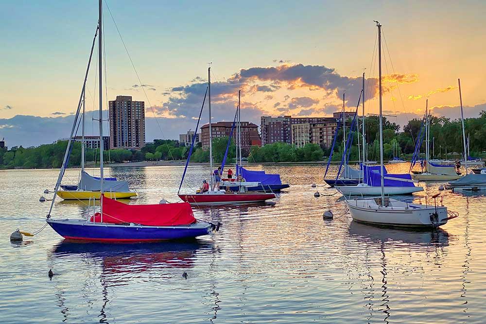 A view of sailboats on Lake Bde Maka Ska in Minneapolis
