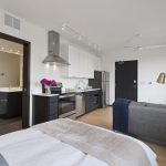 View of studio apartment with modern decor and efficient use of space
