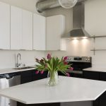 View of open concept corner kitchen