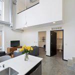 View of lower floor of loft apartment in modern design