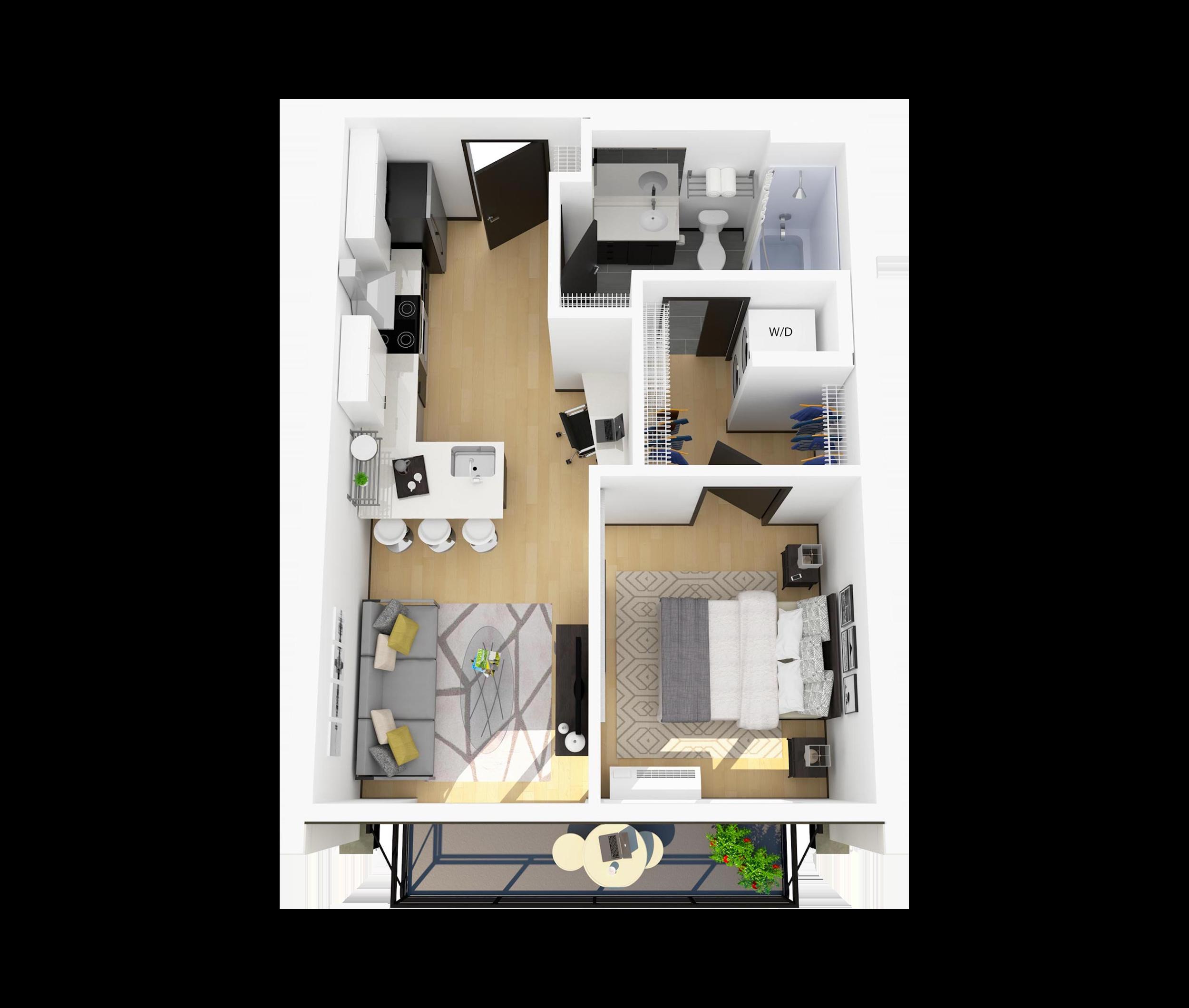 Floor Plan J2 – 1 Bedroom Apartment